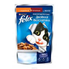 FELIX  Корм для кошек Двойная вкуснятина с индейкой и печенью в желе, 85 г