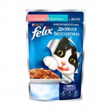 FELIX  Корм для кошек Двойной вкус с лососем и форелью в желе  85 г