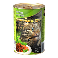 Ночной охотник Корм для кошек Мясные кусочки в желе Телятина и индейка, 400 г