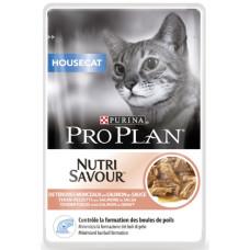 Про План HouseCat Корм для взрослых кошек с лососем в соусе (пауч) 85 г