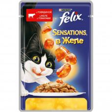 FELIX Sensations Корм для кошек конс. с говядиной в желе с томатами 85 г