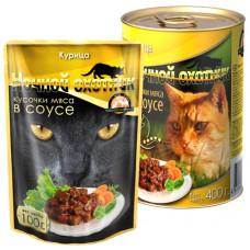 Ночной охотник Корм для кошек Мясные кусочки в соусе Курица, 400 г