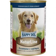 Хэппи Дог Корм для собак консервированный Телятина с сердцем, ж/б, 400 г