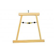 8537 Дарэлл Качели для попугая деревянные малые с бусами 120*8*h115 мм.