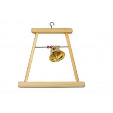 8541 Дарэлл Качели для попугая деревянные малые с бусами и колокольчиком 120*8*h115 мм.