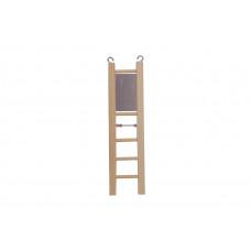 8576 Дарэлл Игрушка для птиц Лесенка деревянная с бусами и зеркалом