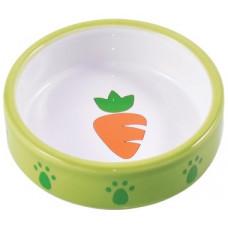КерамикАрт миска керамическая для грызунов Зеленая с морковью 70 мл
