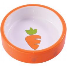 КерамикАрт миска керамическая для грызунов Оранжевая с морковью 70 мл