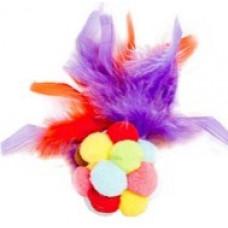 116 Игрушка для животных Разноцветный мягкий мячик с пером, 15 см