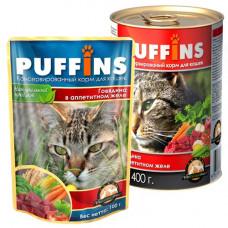 Puffins Корм для кошек Кусочки мяса в желе Говядина, ж/б 400 г