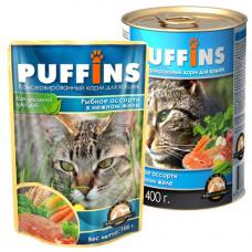 Puffins Корм для кошек Кусочки в желе Рыбное ассорти, ж/б 400 г