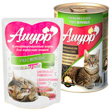 Амурр Корм консерв. для кошек Утка с морковкой в соусе, ж/б 400 г