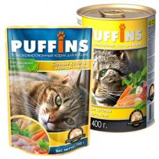 Puffins Корм для кошек Кусочки мяса в желе Курица, ж/б 400 г