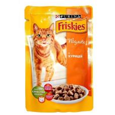 Фрискис Корм для кошек с курицей в подливе 100 г