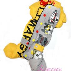 4901 LST01001 Зимний комбинезон на таксу Hipster серо-желтый, размер TK-М, девочка
