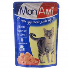 MON AMI Корм конс. для кошек нежные кусочки в соусе Цыпленок, 100 г