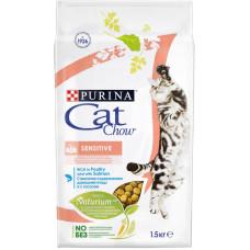 Кэт Чау Корм для кошек с чувствительным пищеварением с птицей и лососем 1,5 кг