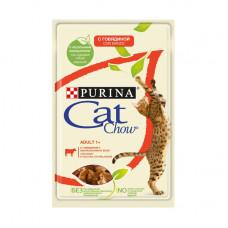 Кэт Чау Корм для взрослых кошек с говядиной и баклажанами, в желе, пауч 85 г