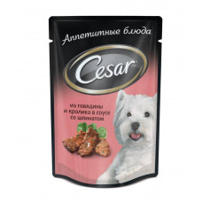 Цезарь Корм для собак консервированный Говядина и кролик со шпинатом 100 г