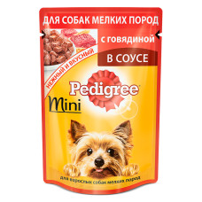 Педигри для взрослых собак мини пород с говядиной в соусе, 85 г