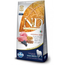 FARMINA N&D Корм низкозерновой для взрослых собак крупных пород, с Ягнёнком и черникой, 12 кг