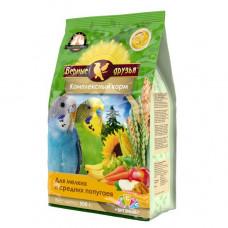 Верные друзья Стандарт Корм для мелких и средних попугаев с витаминами и минералами, 500 г