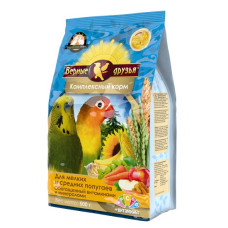 Верные друзья Стандарт Комплексный корм для мелких и средних попугаев, обогащенный витаминами, 500 г