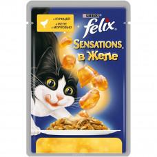 FELIX Sensations Корм для кошек конс. с курицей в желе и морковью 85 г