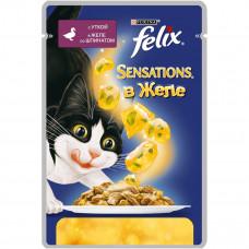 FELIX Sensations Корм для кошек конс. с уткой в желе со шпинатом 85 г
