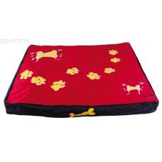 5615956 DEZZIE Лежак-коврик красный с лапами для животных, 80*70*8 см