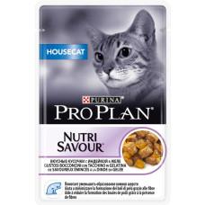Про План HouseCat Корм для взрослых кошек с индейкой в желе (пауч) 85 г