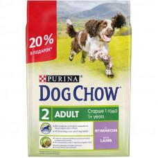 Дог Чау Корм сухой для собак старше 1 года с ягненком 2,0 кг + 500 г в подарок