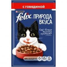 FELIX Влажный корм Природа вкуса для взрослых кошек с говядиной, пауч, 85 г