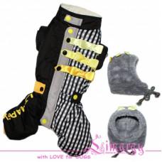 4535 Lim010623-2 Лимарджи Комбинезон зимний + шапка, Sk Bow, черно-желтый, девочка, размер XS