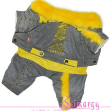 4491 Lim010626-2 Лимарджи Комбинезон зимний Hips, серо-желтый, мальчик, размер МL