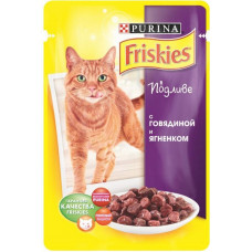 Фрискис Корм для кошек с говядиной и ягненком в подливе 100 г