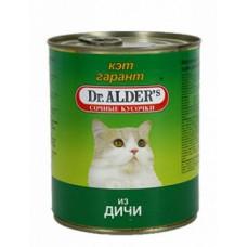 Др Алдерс Кэт Гарант Корм д/кошек Сочные кусочки в соусе с Дичью,  415 г