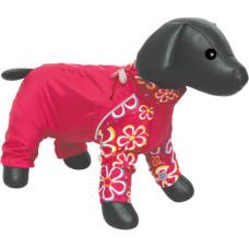 DEZZIE Комбинезон для собак Пудель Карликовый, красный с цветами, болонья, флис, девочка (5615347)