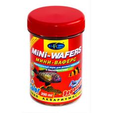 Биодизайн МИНИ ВАФЕРС КОЛОР - мини вафельки, тонущ  корм для всех видов рыб (банка) 200 мл/90 г