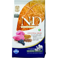 FARMINA N&D Корм низкозерновой для взрослых собак всех пород, с Ягнёнком и черникой, 12 кг