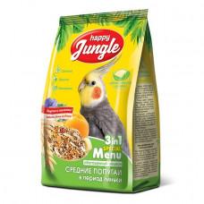 Happy Jungle Корм для средних попугаев при линьке, 500 г