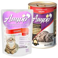 Амурр Корм консерв. для кошек Говядина в желе, ж/б 400 г