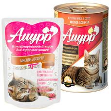 Амурр Корм консерв. для кошек Мясное ассорти в соусе, ж/б 400 г