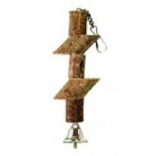 532 Игрушка для птиц Брусочки с колокольчиком на цепочке, 15 см