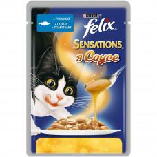 FELIX Sensations Корм для кошек конс. с треской и томатом в соусе 85 г