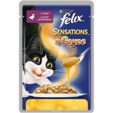 FELIX Sensations Корм для кошек конс. с уткой и морковкой в соусе 85 г