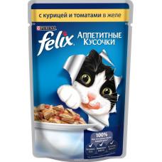 FELIX  Корм для кошек Аппетитные кусочки с курицей и томатами в желе 85 г