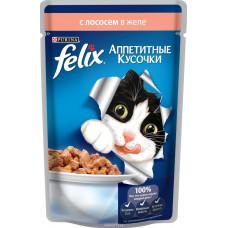 FELIX  Корм для кошек Аппетитные кусочки с лососем в желе 85 г