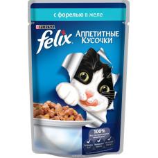 FELIX  Корм для кошек Аппетитные кусочки с форелью в желе 85 г