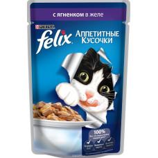 FELIX  Корм для кошек Аппетитные кусочки с ягненком в желе 85 г